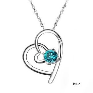 Jewelry - Blue Crystal Open Heart Pendant Silver Necklace